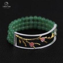 Lotus Fun реальные 925 серебро руки браслет для Для женщин Роскошные авантюрин натуральный камень Бусины и бисер цветок Браслеты Красивые ювелирные изделия