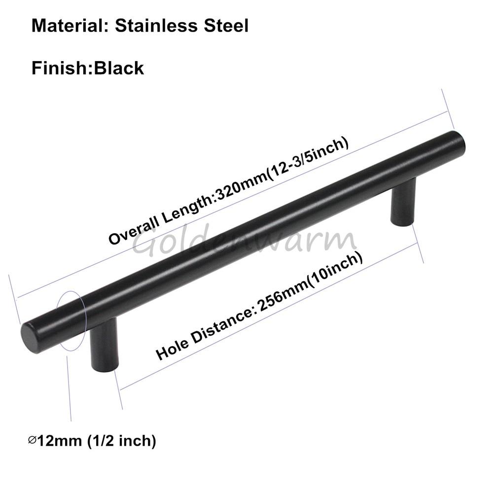 256mm Hole Distance Furniture Handle Black Stainless Steel T Bar Cabinet Handles Modern Wardrobe Door Knob Pull Handle 10 inch
