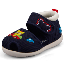 Crtartu Summer Style 1 Pair Dark Blue Sticky Embroidery Cartoon Bear+Yellow Bear+Car Baby shoes