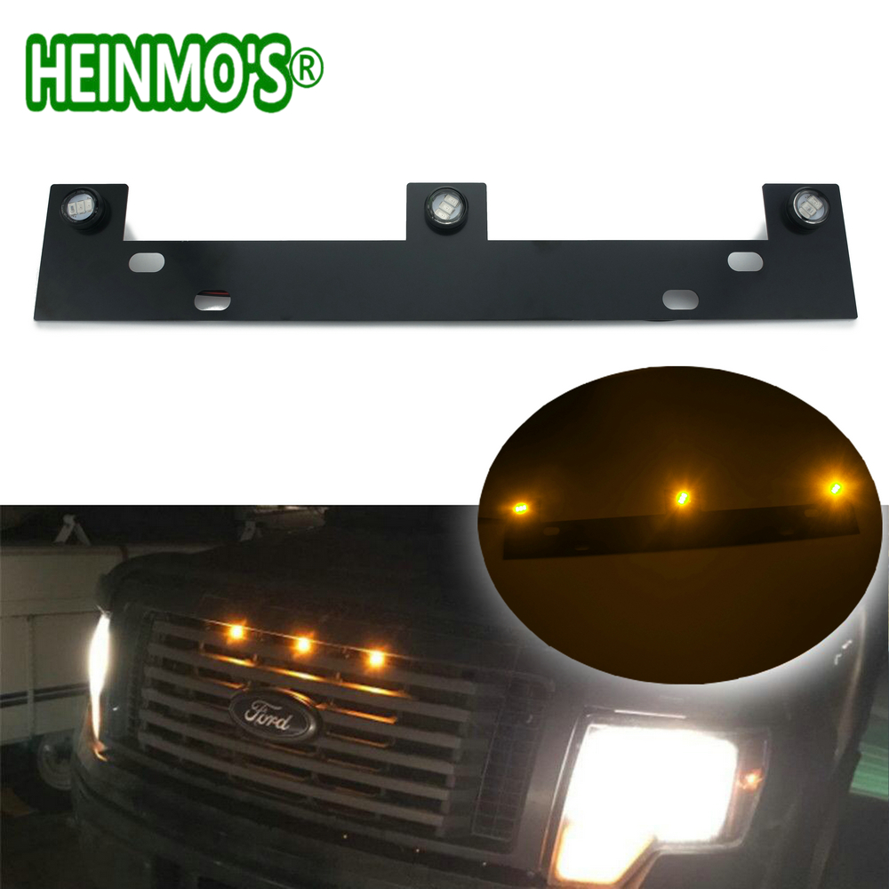 For Ford F-150 2009 2010 2011 2012 2013 2014 2015 Raptor Front Grille LED Lights Kit With Mounting Bracket for f150 raptor f 150 led tail light rear lights for ford 2008 2012 year smoke black sn