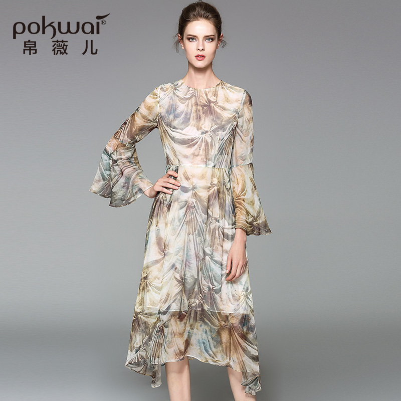 POKWAI Long Vintage Summer Silk Dress Women Fashion High Quality 2017 New  Arrival O Neck Ruffles Flare Sleeve Asymmetrical Dress-in Dresses from  Women's ...