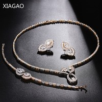XIAGAO Dubai Jewelry Sets Zircons Big Carat Round CZ Crystal Necklace Earrings Bracelet Women Luxury Bridal
