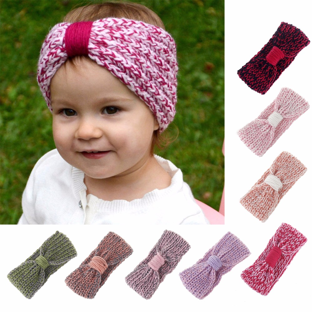 Knot Headband Bebe Girl Winter Crochet Newborn Head wrap Warmer Knitted Bow Hairband Hair Band Hair Bow Accessories 8 colors new women turban twist headband head wrap twisted knotted knot soft hair band bohemian pattern style