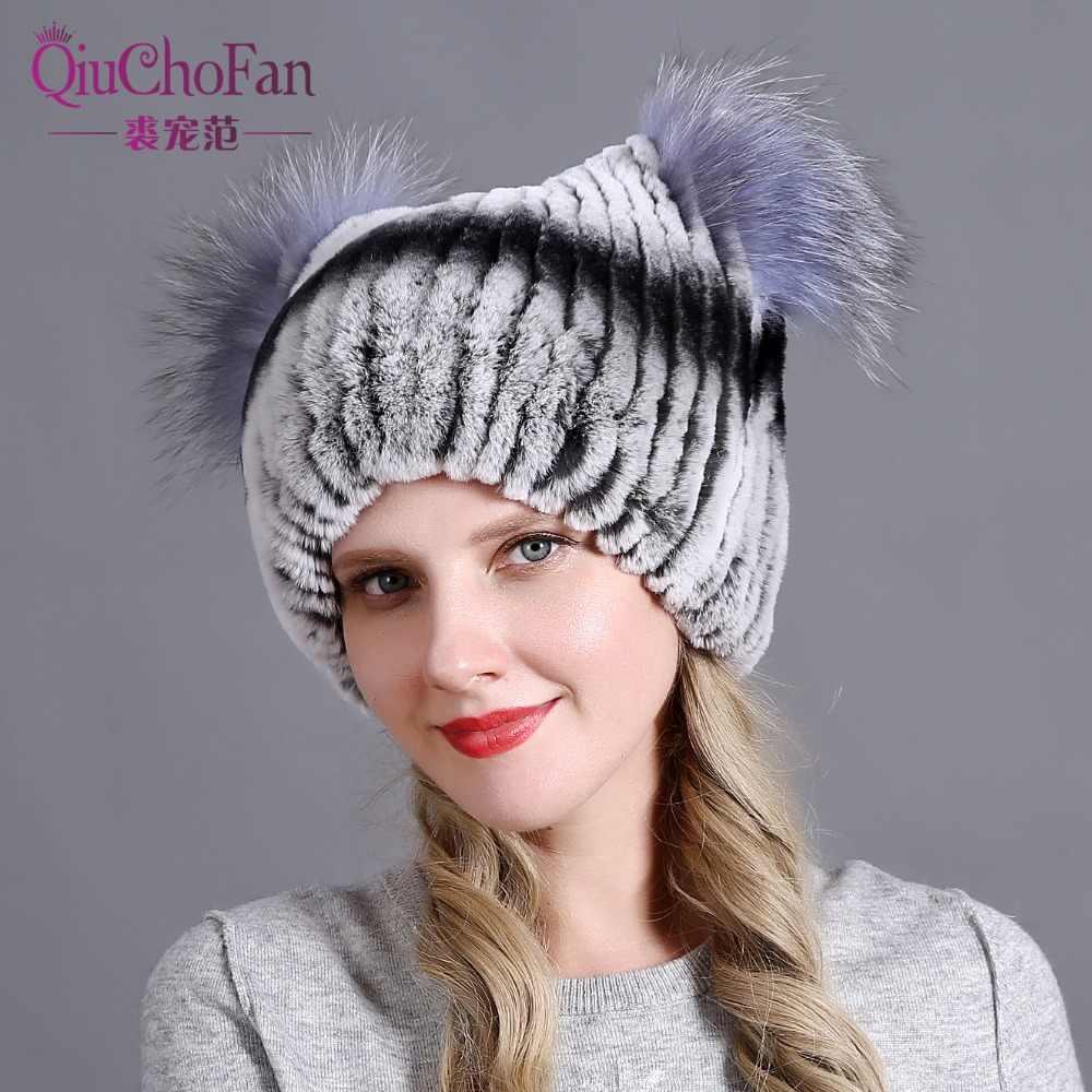 Hat for Women 100% Real Rex Rabbit Fox Fur Hat Rex Rabbit Fur Caps lady ede3c7d54c2