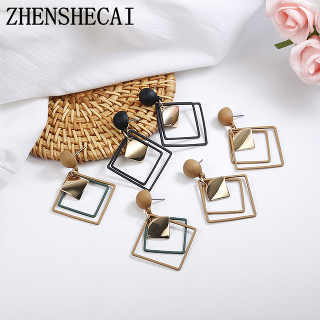 2018 New Minimalist Cool Style black color Alloy Square metal piece Dangle Fashion Earrings For Women Jewelry Brincos