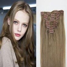 Light Brown #8 Straight Clip In Hair Extensions 16″-26″ 7PCS 120G Full Head Clip In Human Hair Extensions Brazilian Virgin Hair