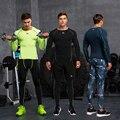 Vansydical Quick Dry мужская Запуск Спорт Фитнес Тренинг Футболки с Колготки Дышащий футбол костюмы сжатия наборы 3 шт.