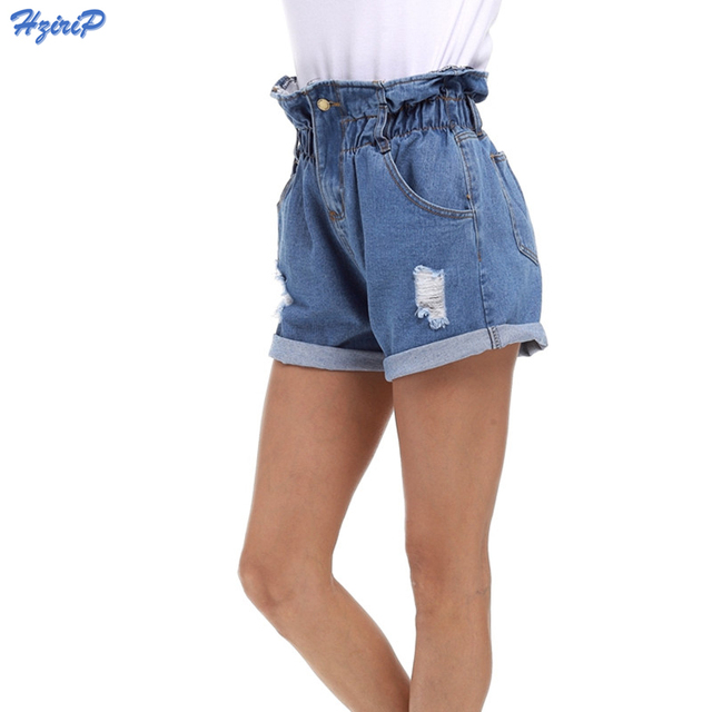 c6748a9fc 2018 New Summer Denim Shorts Women Curling Hole Loose Casual Short Feminino  Elastic High Waist Jeans