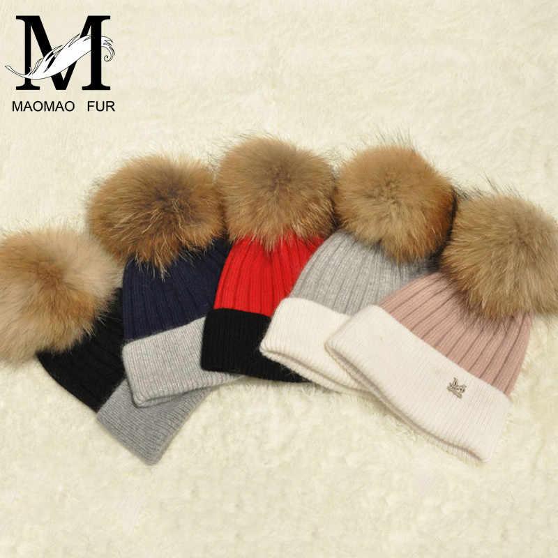 6c9b542066d ... Women Real Fur Pom Pom Hat Female Winter Wool Autumn Knitted Beanies  Fur Ball Cap Ladies ...