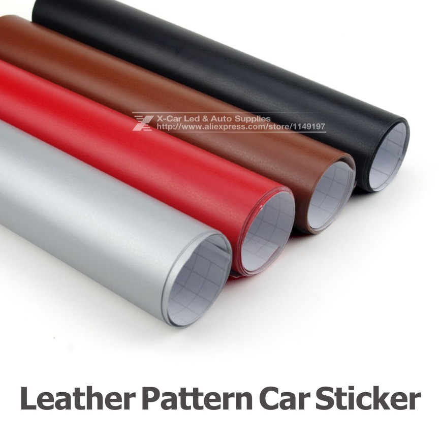 Leather Pattern PVC Adhesive Vinyl Film Stickers For Auto Car Body Internal Decoration Vinyl Wrap 152*30cm Air Bubble free