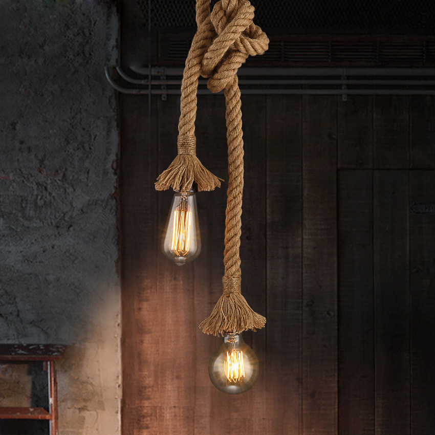 Retro Vintage Rope Pendant Light Lamp Loft Creative Personality Industrial Lamp Edison Bulb American Style For Living Room retro vintage rope pendant light lamp
