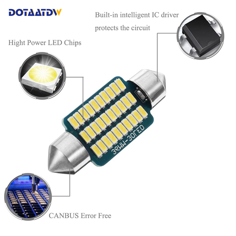 2 X 38MM 3 SMD LED 239 272 C5W CANBUS NO ERROR INTERIOR LIGHT FESTOON BULB WHITE