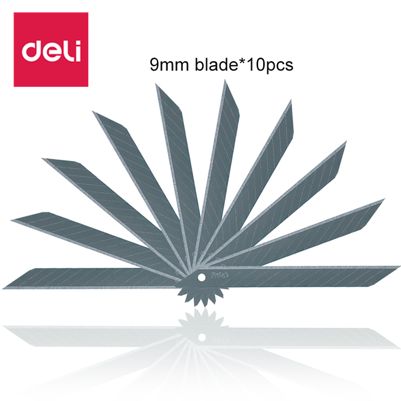 Deli 10 Pcs/set Cutter Blades Low Carbo Alloy Steel High Quality Utility Stainless Steel Knife Blade Metal Sbstitute Blade