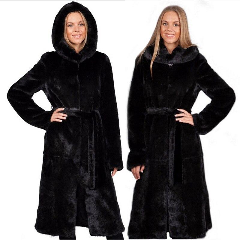 S-6XL nouvelle mode Imiation fourrure de vison manteau En Fausse Fourrure manteau femelle d'âge moyen Extra long trench-coat Femmes D'hiver Vêtements