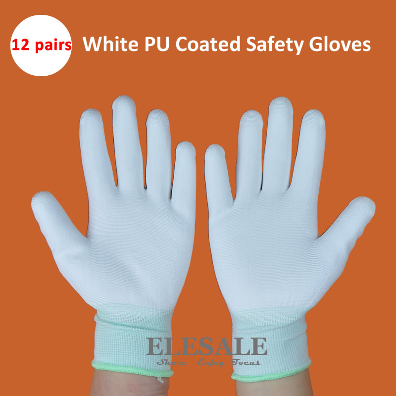 New 12 Pairs White PU Coated Nylon Gloves Anti-Static Work Safety Gloves For Electronic Repair Worker  S/M/L Size Wholesale anti static elastic finger cots stalls yellow size l 50 pcs