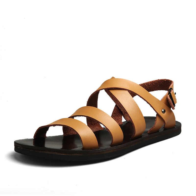 9c044237344 ... M-anxiu 2018 Summer Gladiator Genuine Leather Buckle Strap Sandal Men  Casual Flat Rubber Sole ...