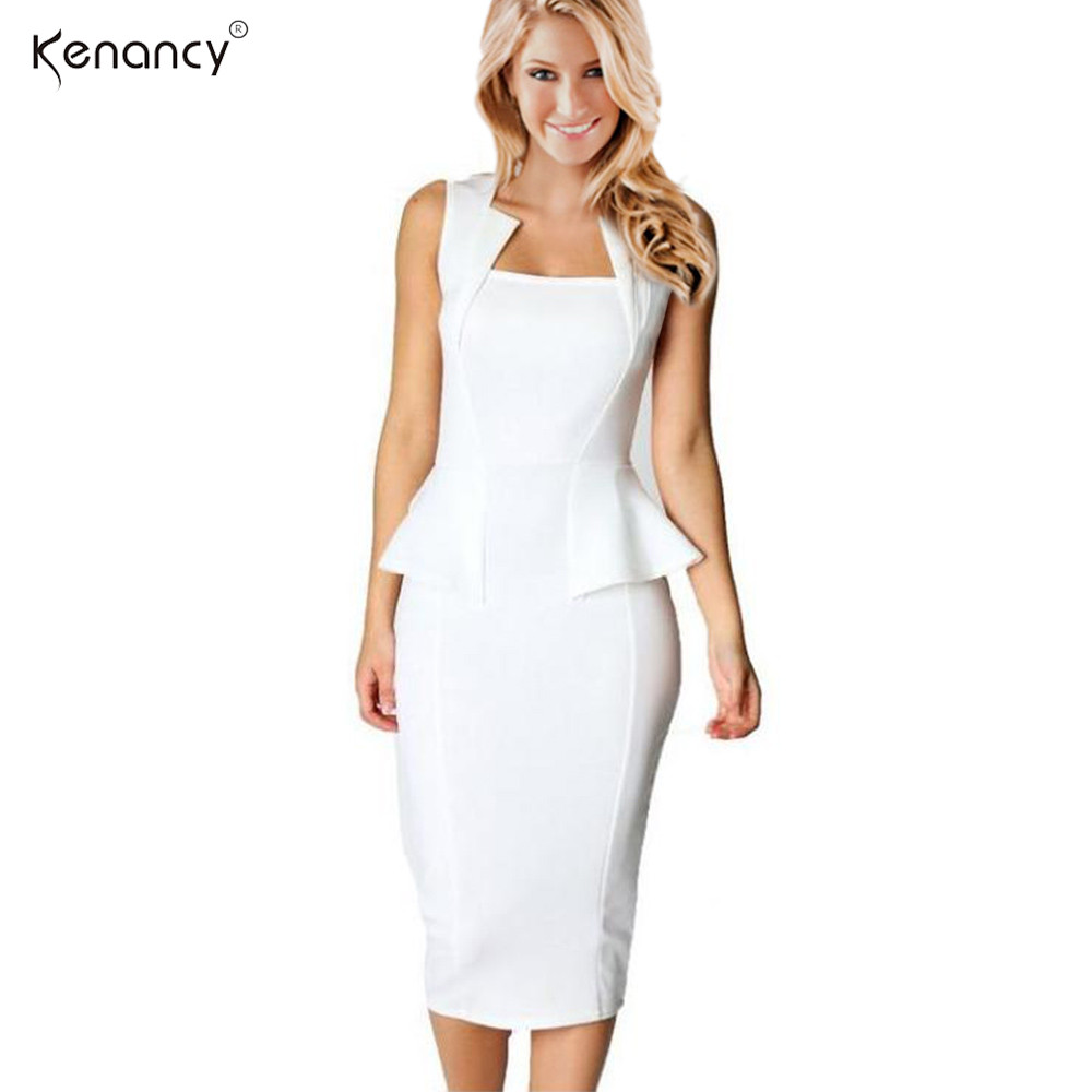 15bdea5b597 Kenancy Clearance Sale Fashion Style Women Summer Dress Sleeveless Solid  Color Knee Length Office Bodycon Dresses-in Dresses from Women s Clothing  ...