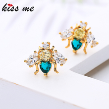 KISS ME Luxury Zircon Gold Color Vivid Bees Stud Earrings For Women Gifts Brass 2019 Newest Fashion Jewelry Accessories