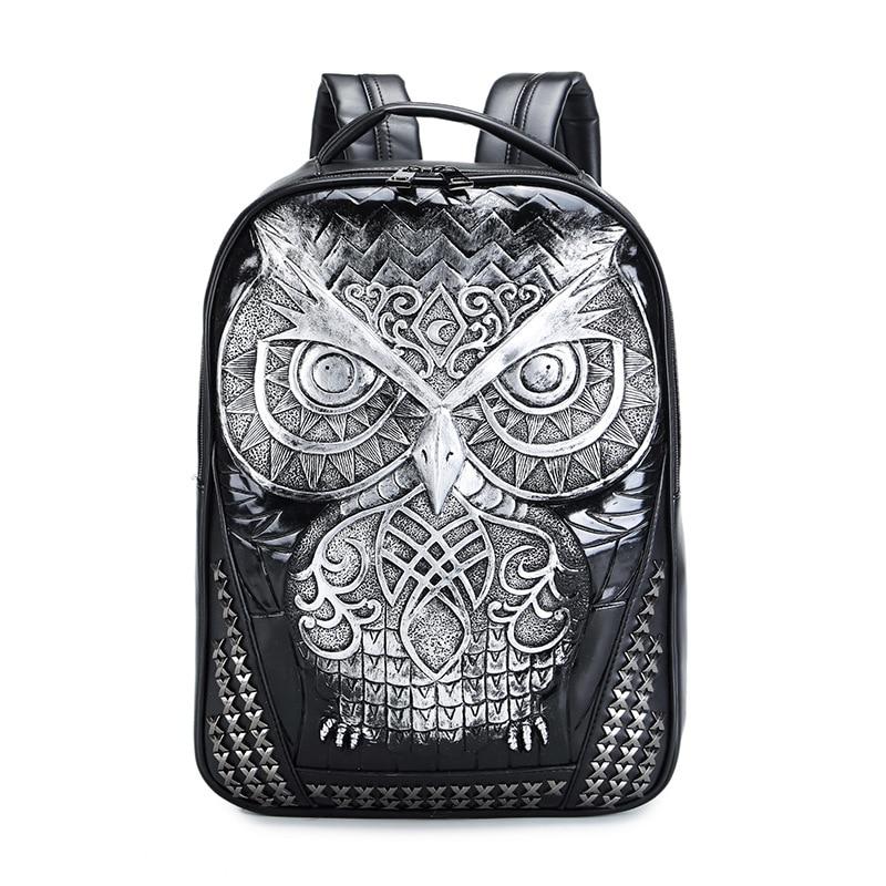 3D Emboss Owl Head Rivet Gother Backpack For Men & Women High Quality PU Leather Travel Backpacks Laptop Teenager School Bag pu leather owl choker