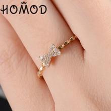 купить HOMOD Fashion AAA CZ Zircon Rings Gold Color Finger Bow Crystal Ring Wedding Engagement For Women Party Jewelry Gift по цене 87.93 рублей