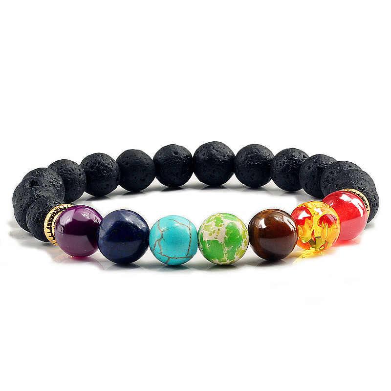 7 Браслет Чакра мужские черные лавы бусины с энергией исцеления и гармонии рейки молитва Будды натуральный камень Йога браслеты для женщин Подарки Pulseira