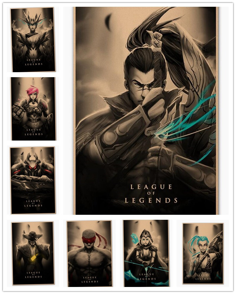League Of Legends Retro Nostalgic Poster Bar Family Decoration Painting