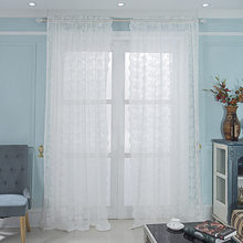 White lace curtains for living room bedroom floral curtain sheer tulle for windows treatment panel(China)