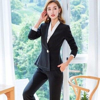 2 Piece Business Set Women Work Blazer Pants Suit Black White Ladies Slim Fit Trouser Suits Elegant Business Suits 1