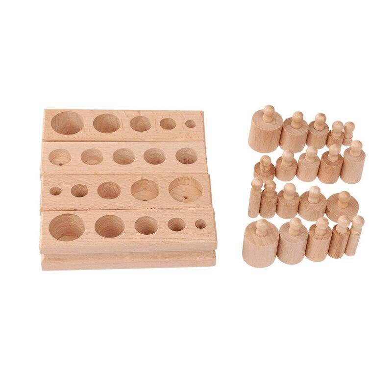 Wooden Toys Montessori Educational Cylinder Socket Blocks Toy Baby Development Practice And Senses