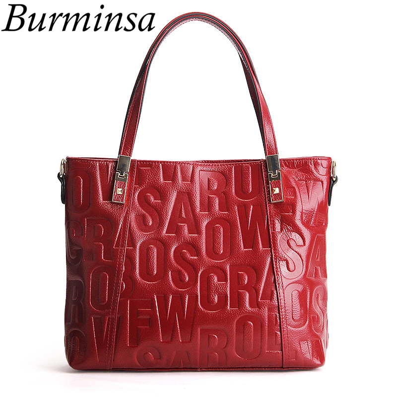 цена Burminsa Brand Letters 100% Genuine Leather Bags Designer Handbags High Quality Ladies Tote Shoulder Bags Women Messenger Bags