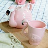 European Ceramic Flamingo Teapot Set Pot With Cold Water For Household Water Glass Cover Filtration Pink