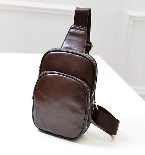 The new hot / pu leather men's chest pack /Korean fashion casual retro shoulder diagonal bag / tide male Messenger Bag Handbags