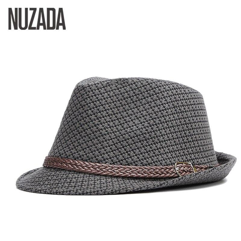 Marchi NUZADA Autunno Inverno Uomo Fedoras Top Jazz Hat Bowler Cappelli Qualità Cotton Cap Inghilterra Retro versione classica è possibile regolare