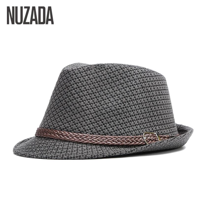 Brands NUZADA Autumn Winter Men Fedoras Top Jazz Hat Bowler Hats Quality Cotton Cap England Retro Classic Version You Can Adjust