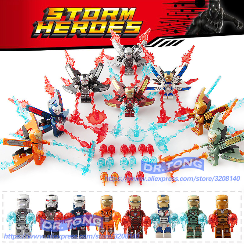 8pcs/lot Infinity War Figure IRON MAN Marvel Super Hero Avenger IronMan Set Models Building Blocks Toys Children Gift Sy1103 super hero marvel lady sif thor hela valkyrja figure bruce banner berserker mandarin red skull building blocks single sale toys