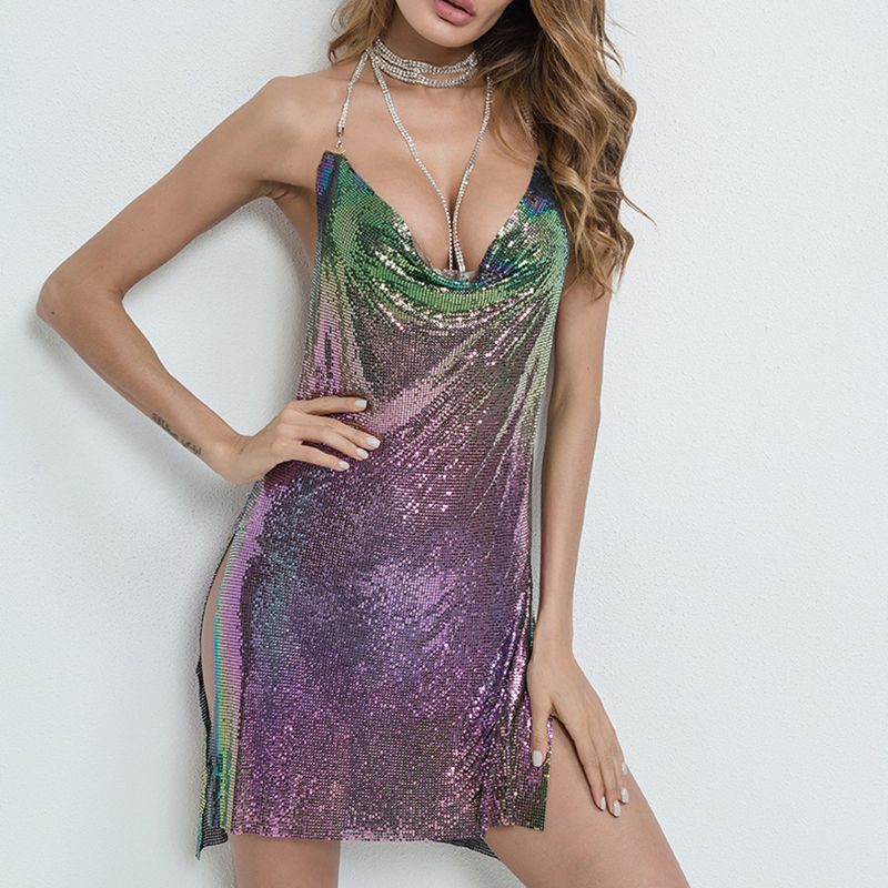 Halter strap Dress Luxury party Dress Sequin Mini Women 2019 Summer Sexy club Deep V Neck Backless Metal Beach Dresses