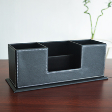 Quality leather multifunctional desktop supplies storage box fashion double pen stationery free shipping quality wool pen multifunctional pen multifunctional pen 5035 1 5kg storage box