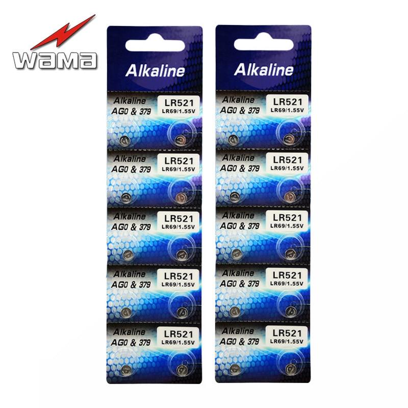 20 pcs/2 pack Wama Alcalina 1.5 V Botão Bateria de Célula AG0 LR521 LR63 Brinquedos Relógio SR521SW Baterias Da Câmera Navio da gota