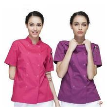 Новая форма повара ресторана Куртки Женщины повара Униформа с коротким рукавом кухня рабочая одежда