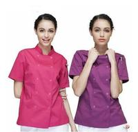 New Restaurant Chef Uniform Jackets Woman Cook Uniform Short Sleeve Kitchen Work Wear