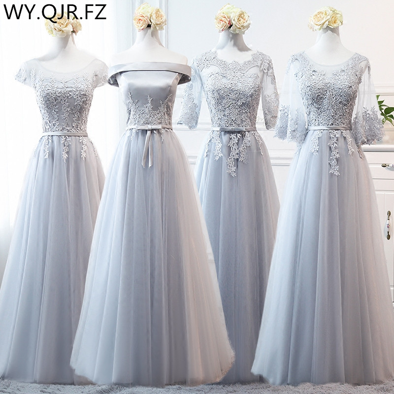 MNZ~958#2019 Spring Summer New Grey Bridesmaid Dresses Long Medium Short Lace Up Wedding Prom Party Dress Cheap Wholesale Custom