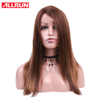 ALLRUN Brazilian Wigs Lace Front Human Hair Wigs 33# Color Non Remy Straight L part Lace Front Wig For Women Free Shipping
