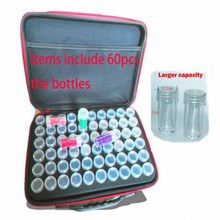 60 bottiglie di Pittura Diamante Tool Box Contenitore Scatola di Immagazzinaggio Carry Della Cassa Del Supporto Della Borsa A Mano Con Cerniera 30 Bottiglie