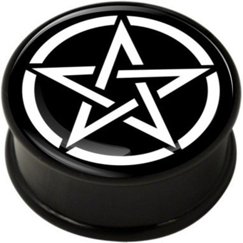 1 pair Pentagram single flare ear plug gauges tunnel flesh tunnel with rubber ring body piercing jewelry