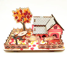 DIY Model toys 3D Wooden Puzzle Autumn is boundless Wooden Kits Educational Puzzle Game Assembling Toys Gift for Kids Adult P12 цены онлайн
