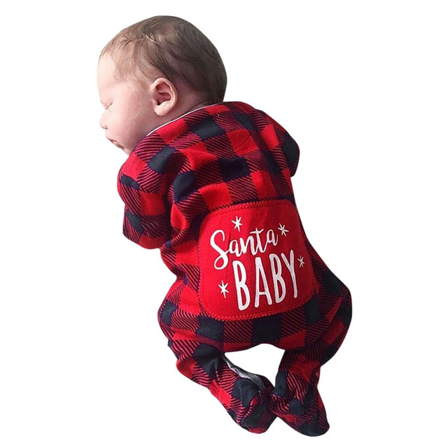 Infant Baby Boys Girls Christmas Santa XMAS Letter Plaid Romper Jumpsuit Outfits baby clothes winter clothes  Costume Solid