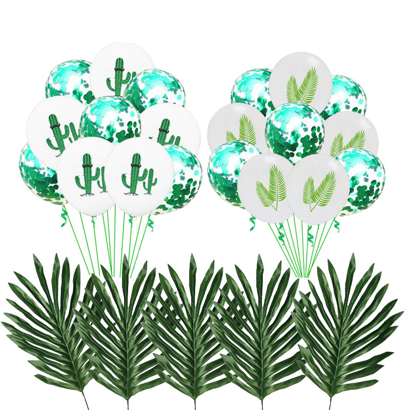 Tropical Party Decoration Latex Balloons Artificial Palm Leaves Green Latex Confetti Balloon Summer Hawaiian Party Decoations