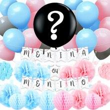 NICROLANDEE 36 pcs/set Menino ou Menina Gender Reveal Festa Party Decoration Set Kit Blue Pink Home  Decor New DIY