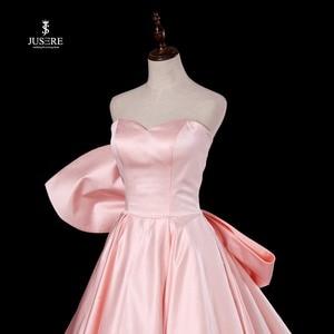 Image 3 - Chérie rose a ligne robe de soirée sans manches avec grand arc balayage Train Satin bretelles robe de bal robe de soirée 2019