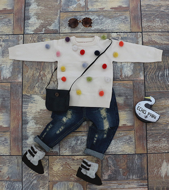 Baby boys girls cotton knit sweater jacket children sweater wool ball cardigan autumn winter for kids girl age 1-4 years